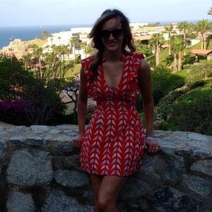 Dresses & Skirts - RED Summer Dress with Bird Print